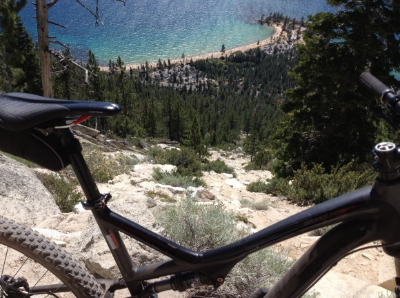 The edges of the Flume Trail are sandy, and if you screw up, this is what awaits you